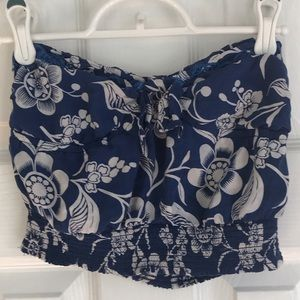 Hollister navy blue floral print tube top, XS